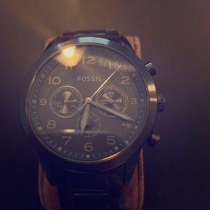 Fossil Gunmetal Black Chronograph Watch. Used.
